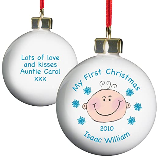Personalised Baby Boy My First Christmas Bauble Keepsake Tree Gift