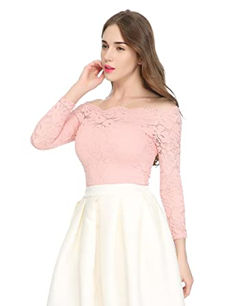 cc982bd3f01 Maggie Tang Women's Off Shoulder Long Sleeves Floral Lace Twin Set Top  Antique Pink