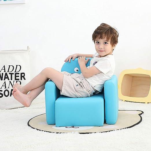 Emall Life Sillón para niños Multifuncional, Silla y Mesa para niños/Taburete con una Sonrisa Divertida para niños y niñas (Dinosaurio Azul)