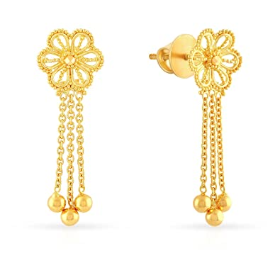 0210a0b04 Buy Malabar Gold & Diamonds 22KT Yellow Gold Drop Earrings for Women Online  at Low Prices in India | Amazon Jewellery Store - Amazon.in