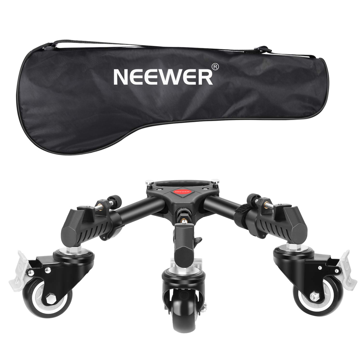 Neewer Photography Tripod Dolly, Heavy Duty with Larger 3-inch Rubber Wheels, Adjustable Leg Mounts and Carry Bag for Tripods, Light Stands for Photo Video Lighting, Load up to 50 pounds