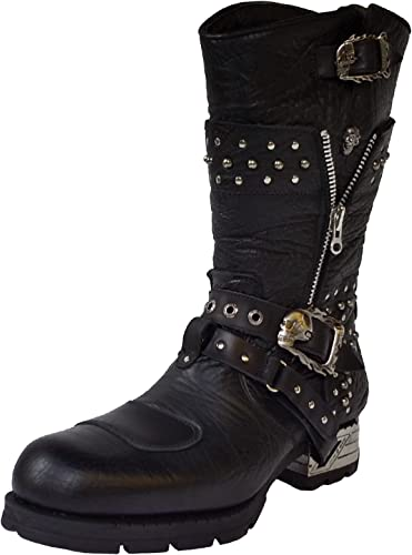 Botas Rockeras Moteras Con Tachuelas Y Cremalleras ROCK Engineer MR022