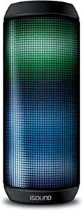 iSound iGlowSound Tower - Light Up Portable Bluetooth Speaker - 5 LED Lighting Modes - IPX4 Water Resistant - Dual Drivers - Speakerphone - 8 Hours Playtime - 100 Feet Range - Music Controls - NFC Pairing, Black