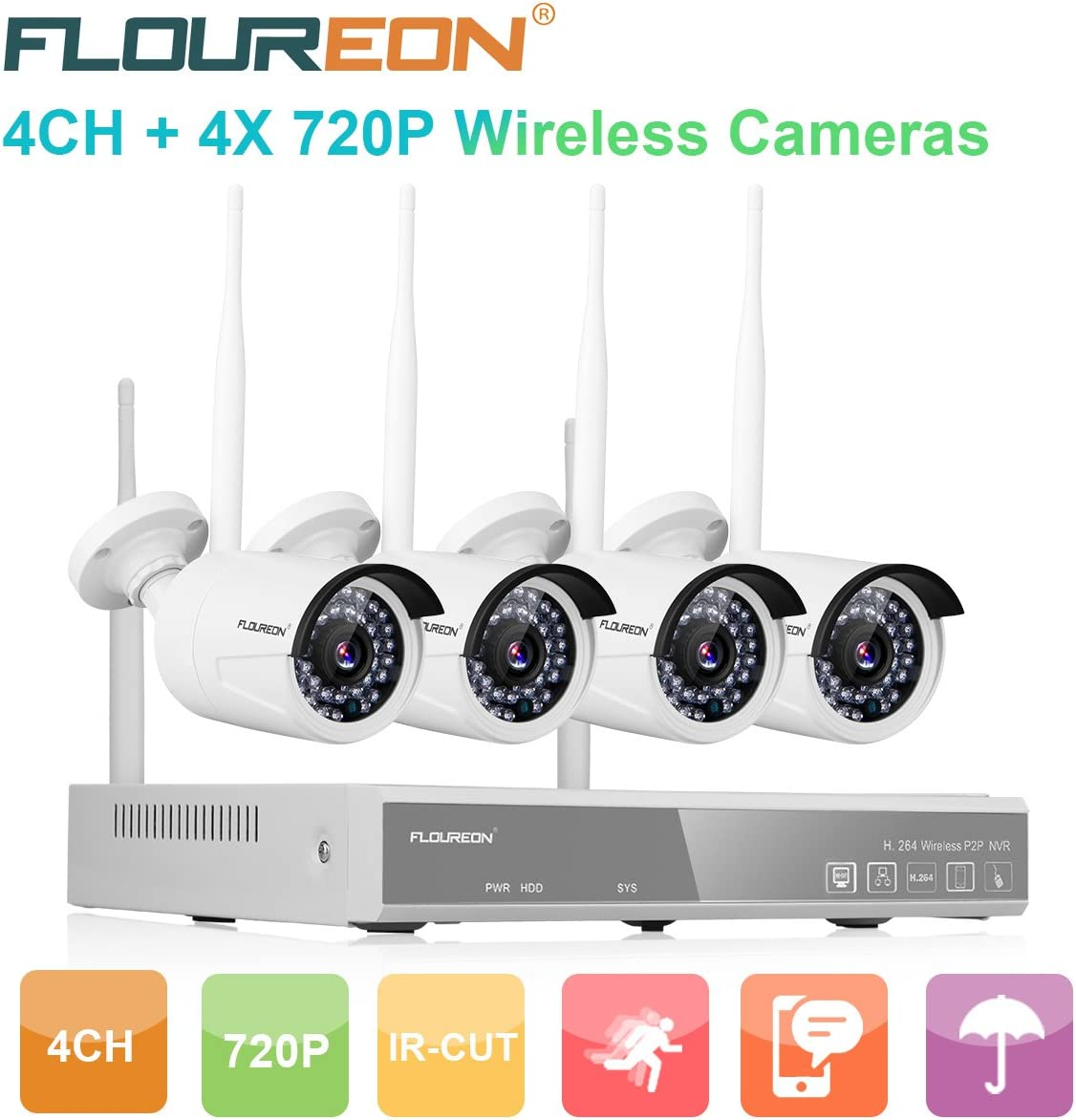 FLOUREON Wireless CCTV Security House Camera System 4CH NVR Kits 1080P 4 Pack 720P 1.0MP HD Wireless IP Network WiFi Camera Night Vision Remote Access Motion Detection 4CH 4X 720P Camera