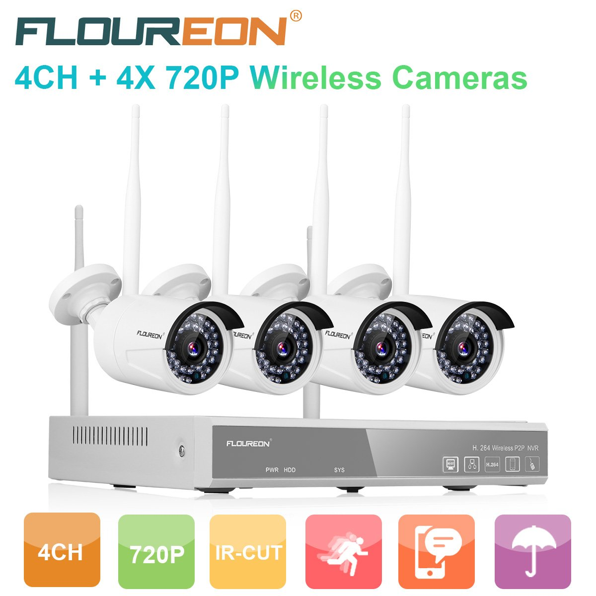 FLOUREON Wireless CCTV Security House Camera System 4CH NVR Kits 1080P + 4 Pack 720P 1.0MP HD Wireless IP Network WiFi Camera Night Vision Remote Access Motion Detection(4CH+ 4X 720P Camera) by floureon