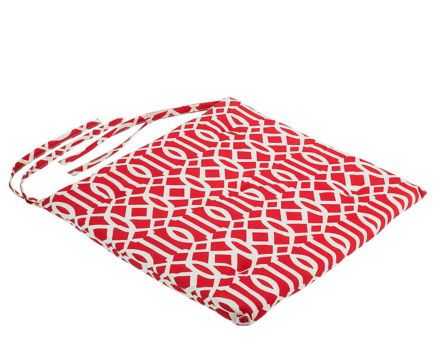 DecorRack 4 Seat Cushion Pads 100% Cotton Cover with Ties, Ideal Chair Pad for Indoor Use, Reversible Square Kitchen Seat Cover Chair Pillows, Modern Red White Design 1 inch Lightweight (Pack of 4)