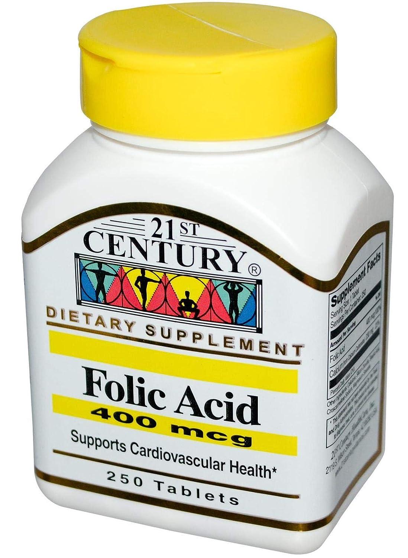 21st Century Folic Acid 400 mcg Tablets, 250 Count