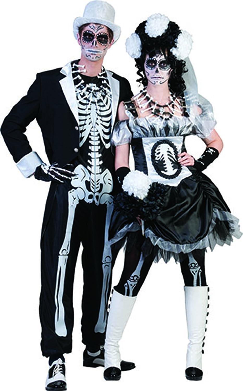 Fancy Ole - - - Herren Männer Halloween Karneval Kostüm Set Skelett Horror-Bräutigam, Sugar Skull, Day of Death, XL, Schwarz 82bc80