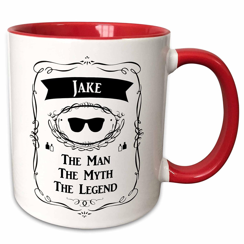 3dRose 232299/_5Jake-The Man The Myth The Legend Name Personalized Gift Ceramic Mug 11 oz Red//White mug/_232299/_5