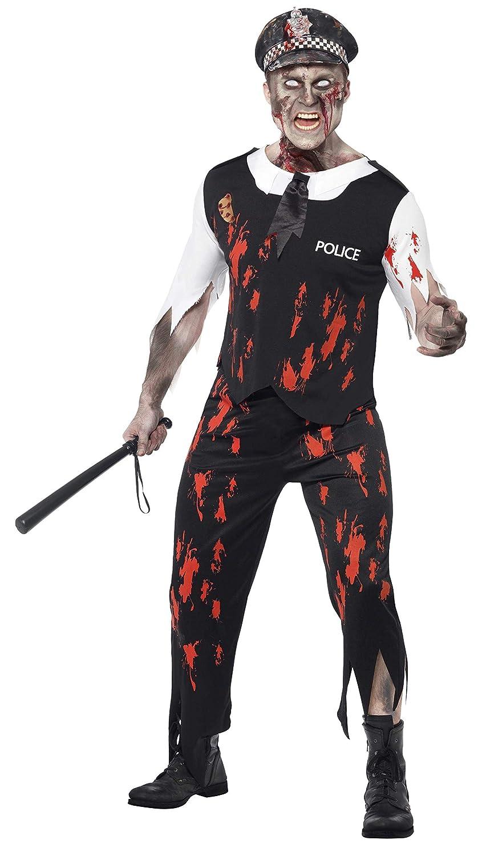 Smiffys Smiffys-38882L Halloween Disfraz de policía Zombi, con Parte de Arriba, Corbata, Pieza de látex, pantalón, Color Negro, L-Tamaño 42