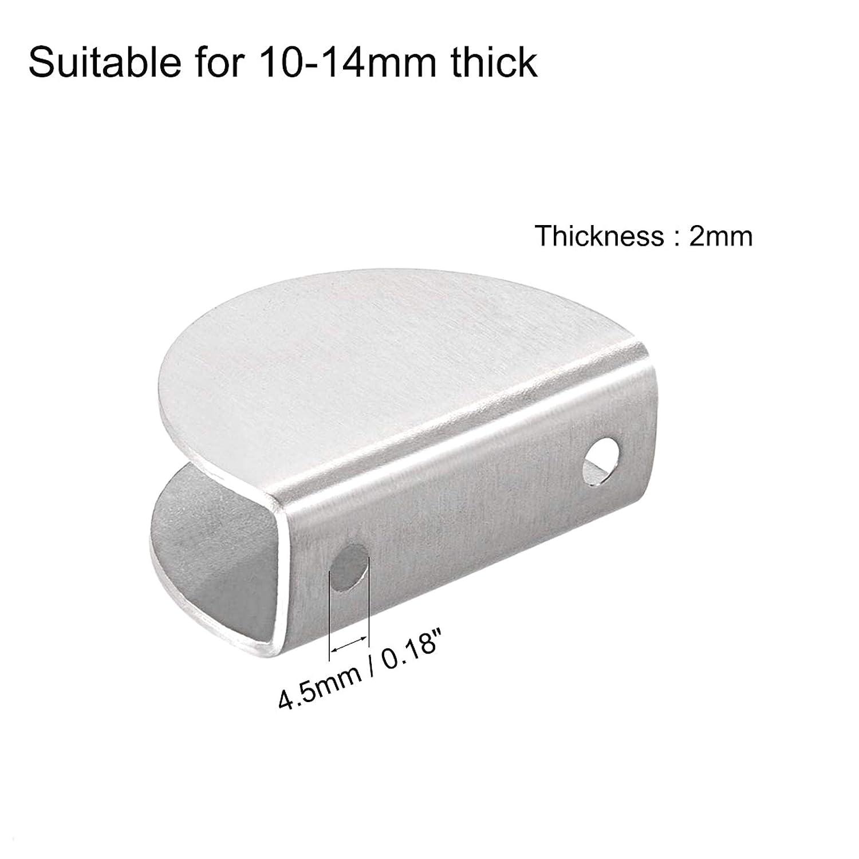 ANKILE para 5-10mm 2Pcs Grosor Ajustable Soporte de Clip de Abrazadera de Vidrio de Acero Inoxidable Medio Redondo Soportes de Estante de Vidrio