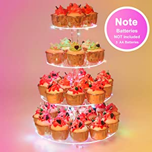 YestBuy 4 Tier Round Cupcake Stand – Premium Cupcake Holder – Acrylic Cupcake Tower Display – Display for Pastry + LED Light String – Ideal for Weddings, Birthday Parties & Events (Multicolored)
