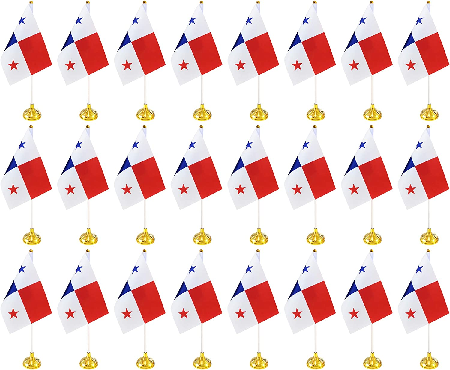 BCLin 24 Pack Panama Desk Flags,Small Mini Panamanian Deluxe Table Flags Set with Stand Base,8.2 x 5.5 inches Miniature Desktop Flag