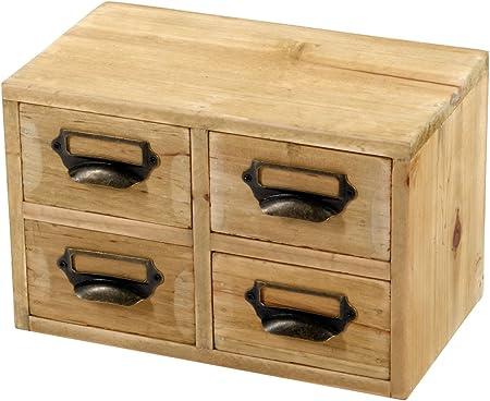 Geko – Cajas de Almacenamiento de Escritorio con 4 cajones, Madera, marrón, 25 x 15 x 16 cm: Amazon.es: Hogar