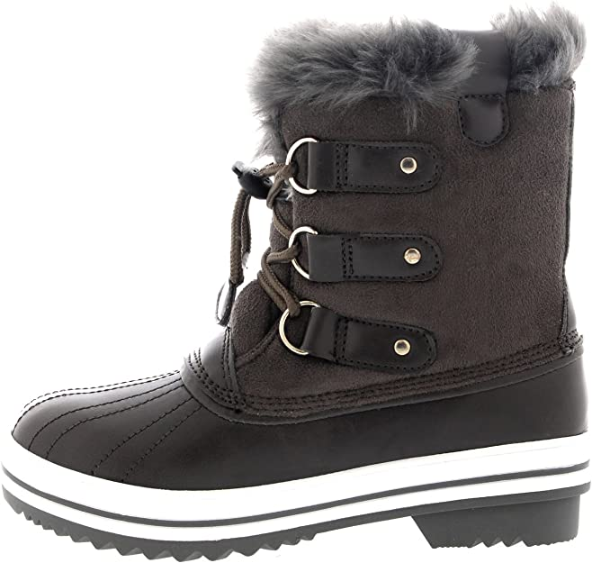 Unisex Kids Nylon Fur Pull On Drawstring Rain Casual Winter Snow Boots All Sizes