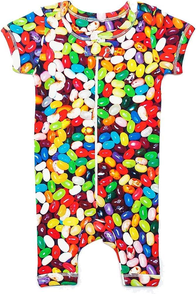 Unisex Baby Romper Onesie Inchworm Alley Jelly Beans 100/% Organic Cotton