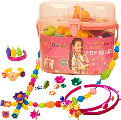 A Ideal Birthday for 3,4,5,6,7,8 Years Old Girls Creative DIY Jewelry Making Kit for Making Bracelet Yizafus Pop Beads for Kids Girls 520PCS Ring and Necklace