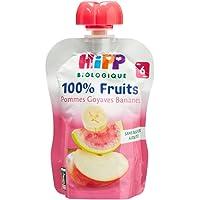 Hipp Biologique 100% Fruits Pommes Goyaves Bananes dès 6 mois - 6 gourdes de 90 g