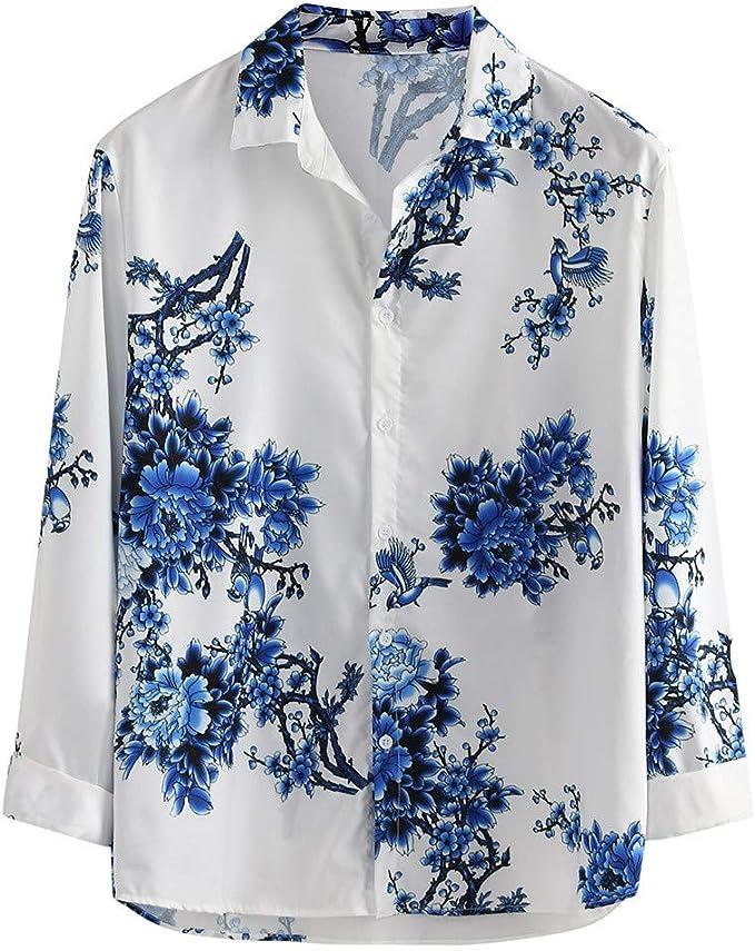 ღLILICATღ Hombre Camisa De Hawaiano Manga Corta Manga Larga Botones Solapa Impresión De Flores Camisetas Estampadas Shirt Playa Fiesta Anchas Informales Tropicales Shirts: Amazon.es: Deportes y aire libre