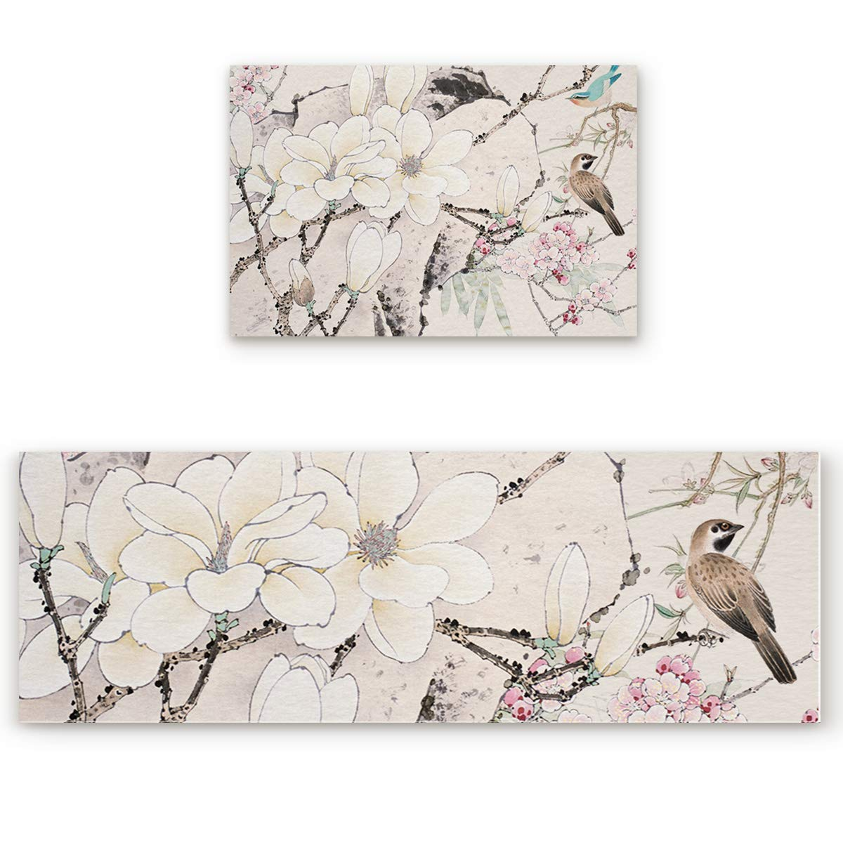 Birds and Flowers4san5739 23.6 x35.4 +23.6 x70.9  Savannan 2 Piece Non-Slip Kitchen Bathroom Entrance Mat Absorbent Durable Floor Doormat Runner Rug Set - Cherry Blossoms