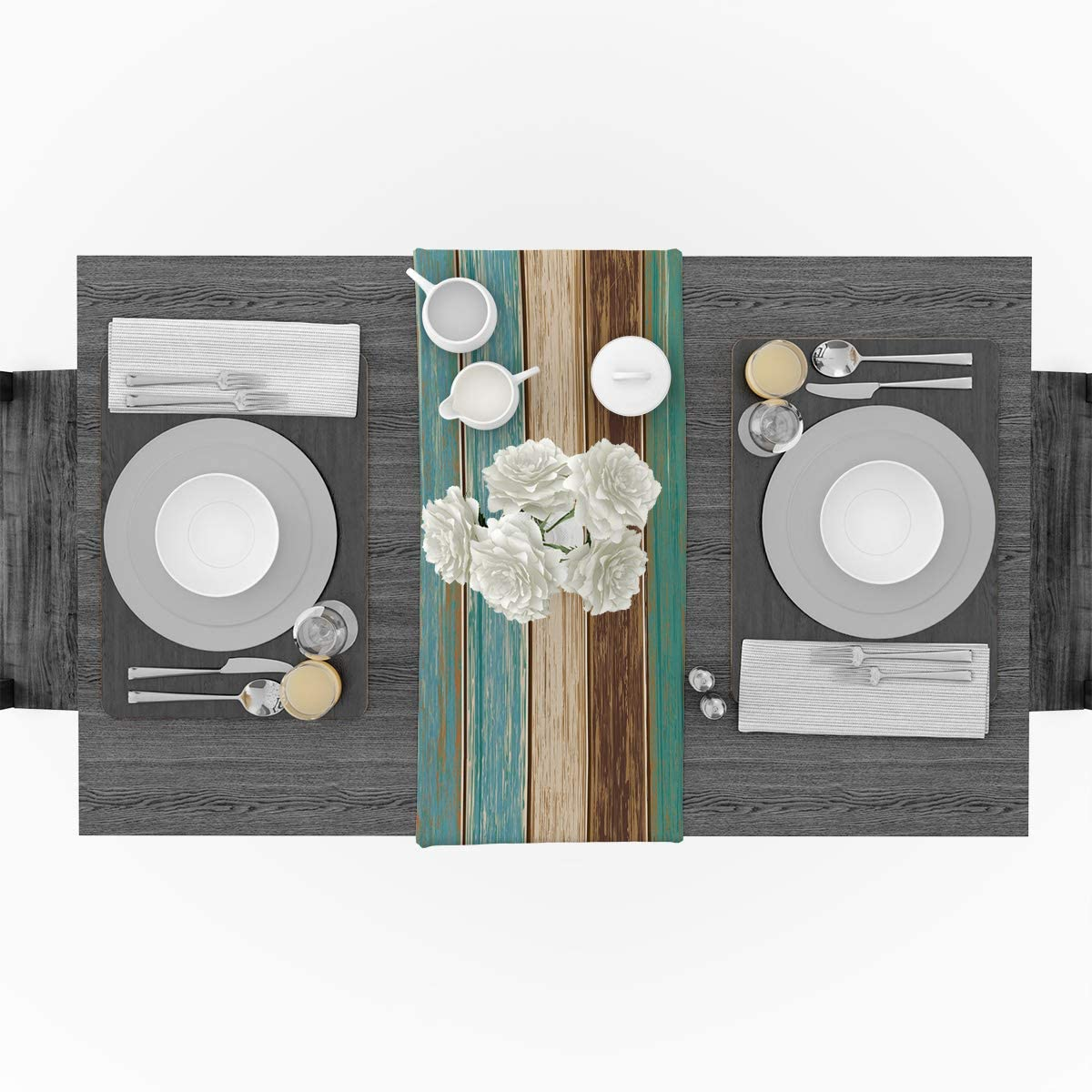 Vandarllin Cotton Linen Table Runner Dresser Scarves Retro Rustic Barn Wood&Teal Green Brown Non-Slip Burlap Rectangle Table Setting Decor for Wedding Party Holiday Dinner Home, (13X70 Inch): Home & Kitchen