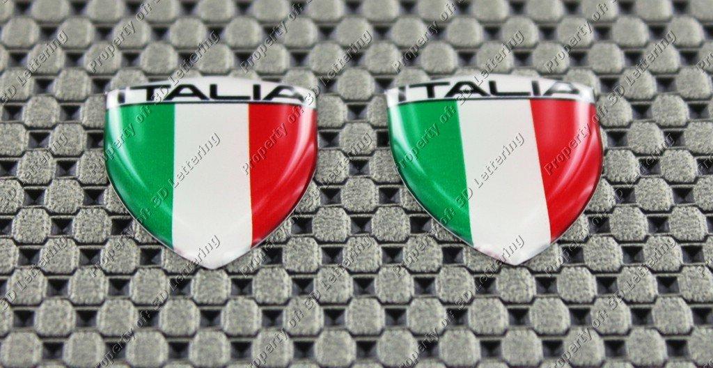 Italie Italia Mini Drapeau Emblè me Ensemble en forme de dô me 3d Autocollant 3D Lettering