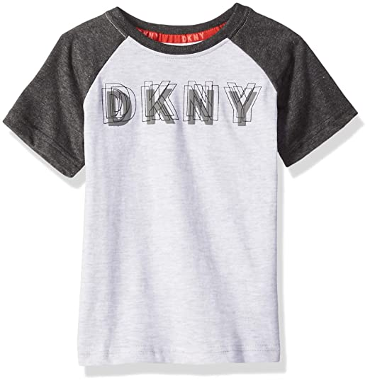 new products for special buy matching in colour DKNY Boys' Short Raglan Sleeve Color Block Crew Neck T-Shirt