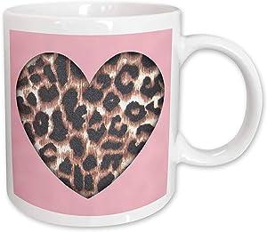 3dRose Pink and Brown Leopard Animal Prints Fashion Ceramic Mug, 11 oz, Multicolor