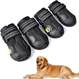 XSY&G Dog Boots,Waterproof Dog Shoes,Dog Booties with Reflective Rugged Anti-Slip Sole and Skid-Proof,Outdoor Dog Shoes for M