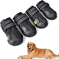 XSY&G Dog Boots,Waterproof Dog Shoes,Dog Booties with Reflective Velcro Rugged Anti-Slip Sole and Skid-Proof,Outdoor Dog…