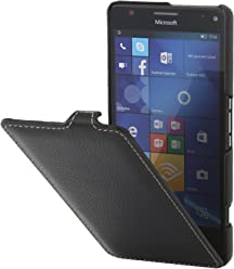 StilGut UltraSlim Case, custodia in pelle per Microsoft Lumia 950 XL / 950 XL Dual SIM , Nero
