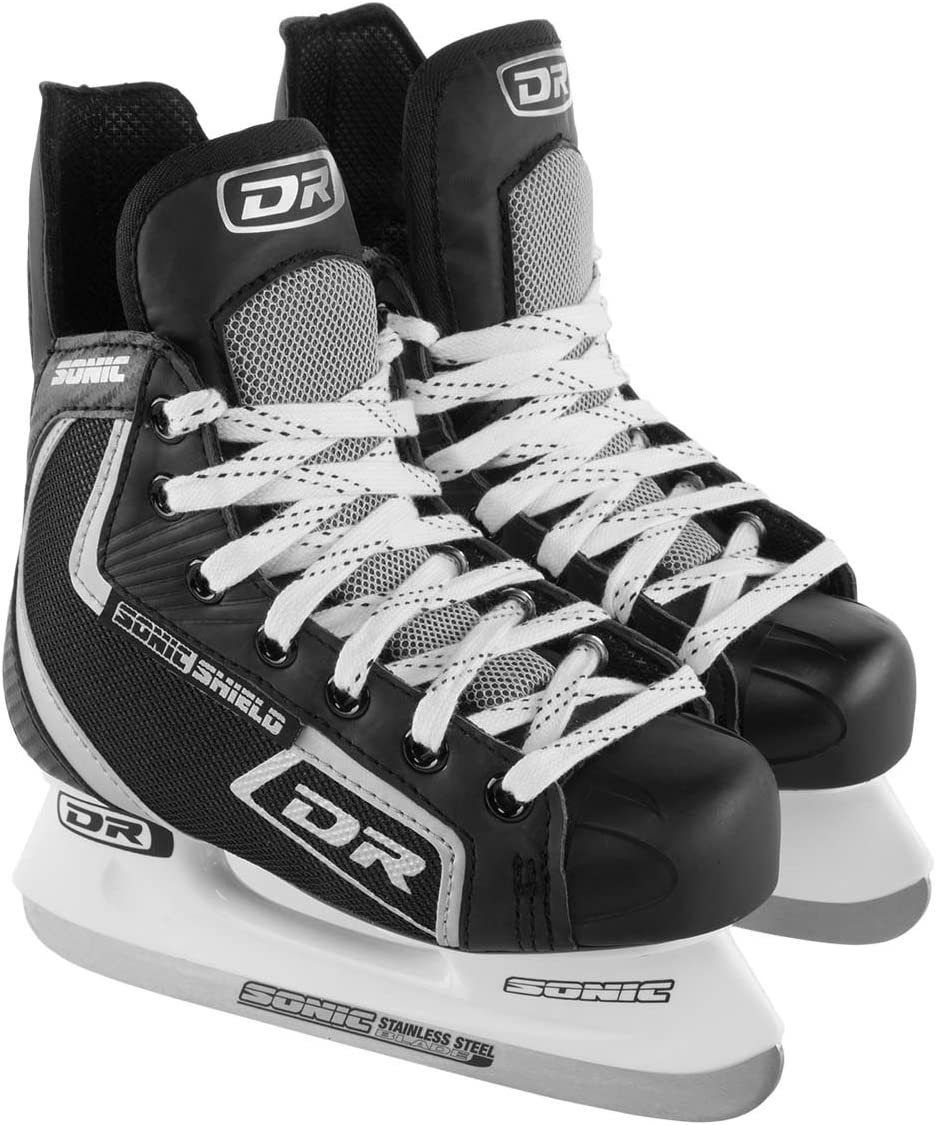 DR Sports Sonic Shield Boys Ice Hockey Skates for Kids Stainless Steel Blades Laces Eyelets Athletic Shoe