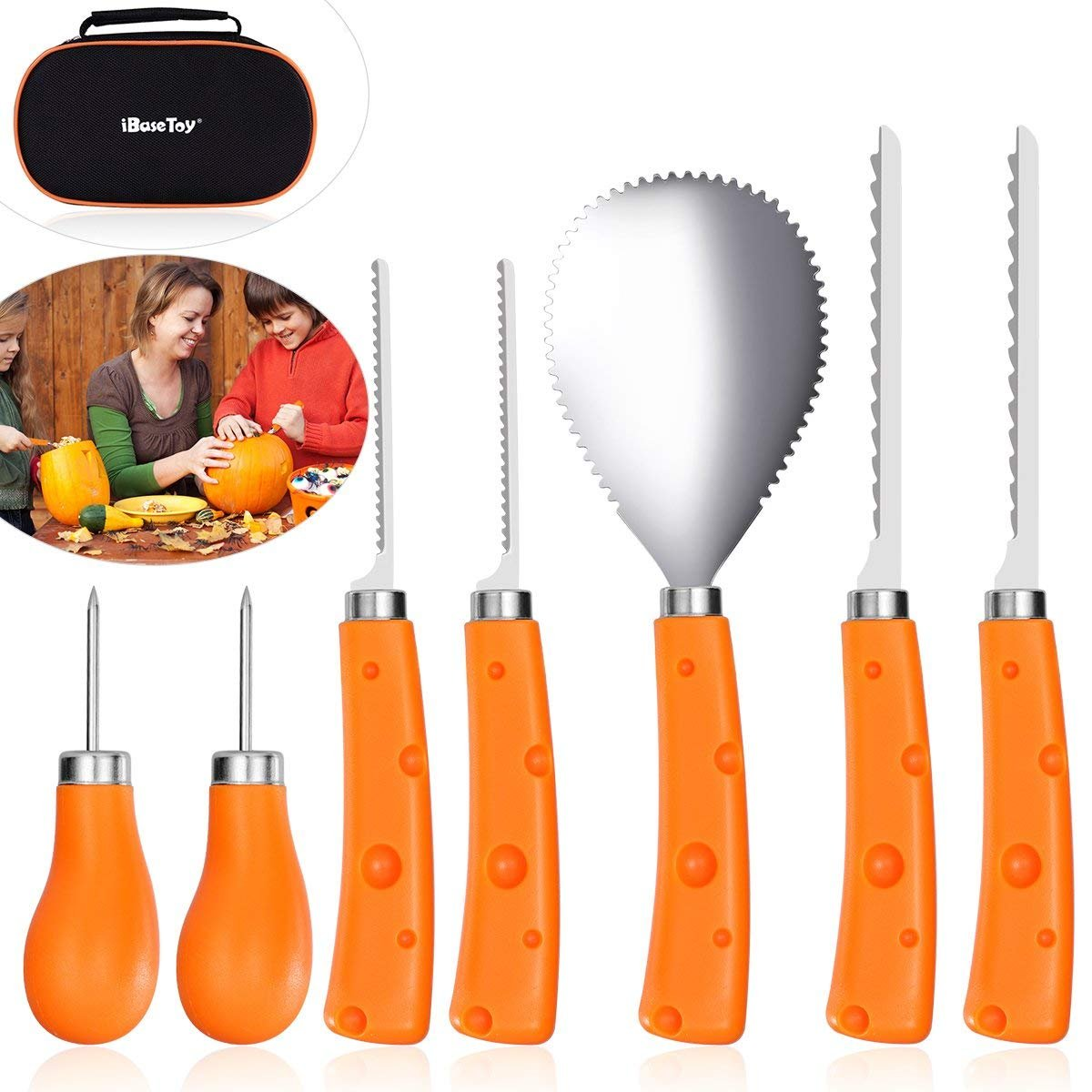 IBASETOY Halloween Pumpkin Carving Kit 7 Pieces - Professional Stainless Steel Pumpkin Carving Tools Set for Kids and Adults, Easily Carve Sculpt Halloween Jack-O-Lanterns (with Carrying Bag)