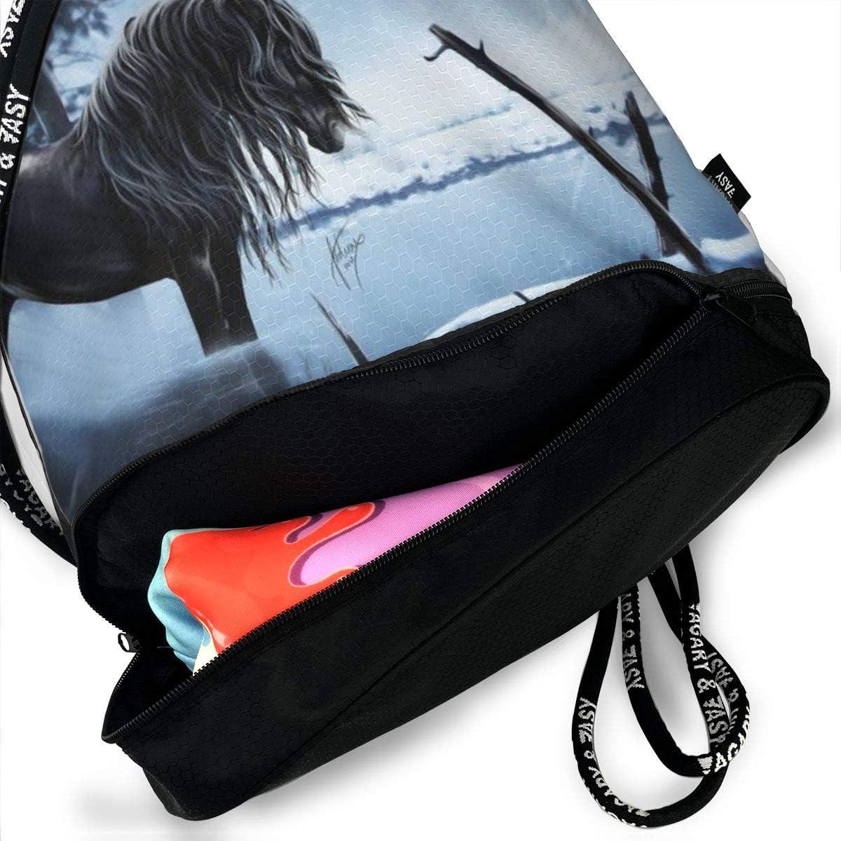 GymSack Drawstring Bag Sackpack Winter Horses Sport Cinch Pack Simple Bundle Pocke Backpack For Men Women