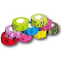 EKNA 9er-Set Kinderpflaster | Fingerverband | Pflasterverband | Pflaster ohne Kleber - Mit Motivauswahl - 2,5cm x 4,5m - elastisch, wasserabweisend, kohäsiv …