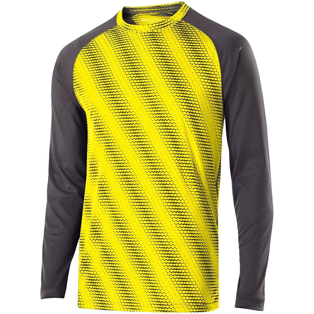 Holloway Youth Torpedo Semi-Fitted Long Sleeve Shirt (Medium, Bright Yellow/Carbon) by Holloway