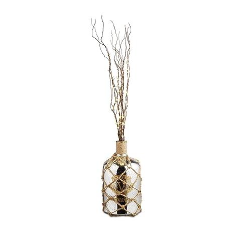 Relaxdays Shabby Sparrow Deco Plata Botella, jarrón de Suelo en diseño marítimo, Jarra de Cristal Lacado, ...