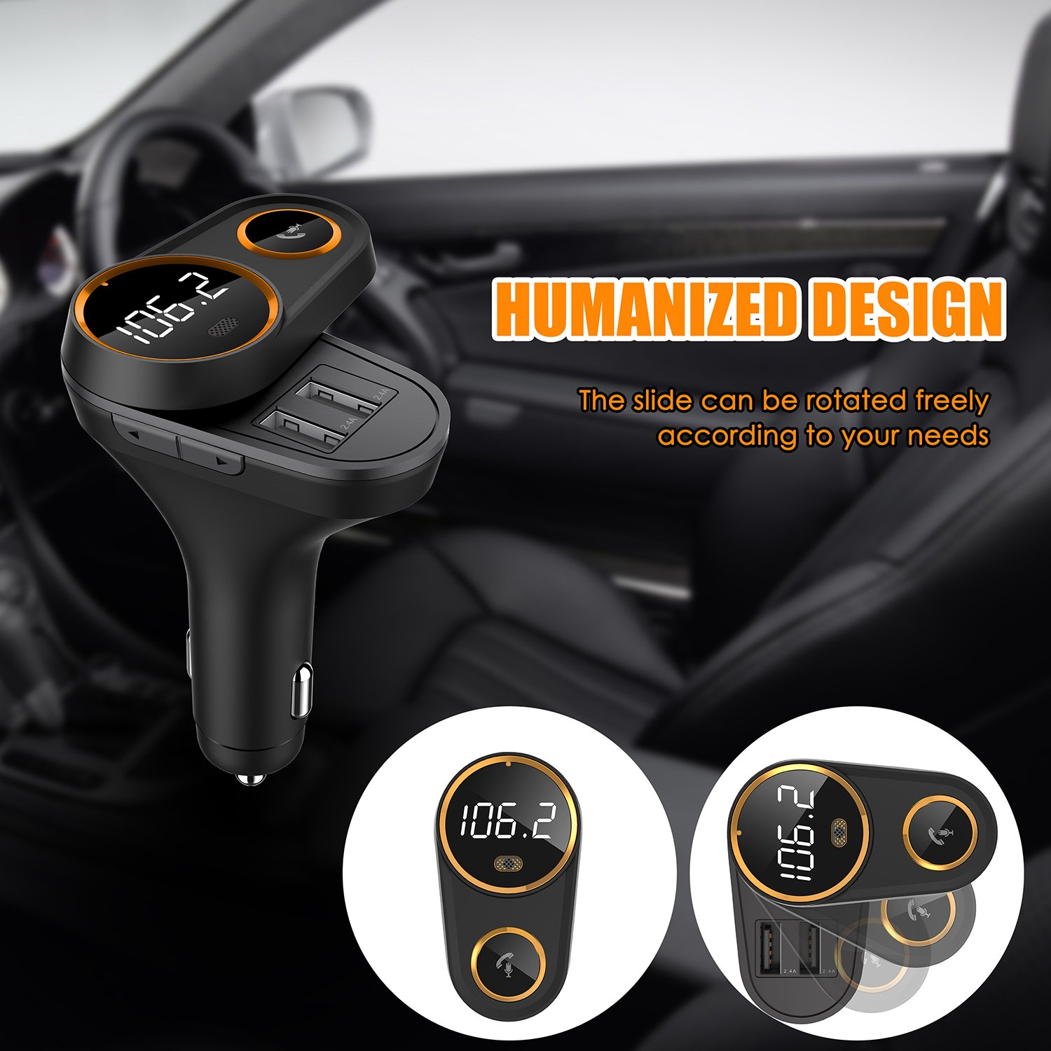 Bluetooth FM Transmitter for Car, Yurchuke 2018 Stylish Design Wireless Bluetooth FM Radio Adapter Car Kit with Hands-Free Calling, 5V/4.8A Concealled Dual USB Charging Ports for iPhone iPod iPad ect by Yurchuke (Image #3)