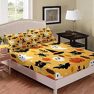 Erosebridal Halloween Fitted Sheet Full Cartoon Pumpkin Sheet Set Lantern Bedding Ghost Bed Cover for Kids Boys Girls Bedroom Decor 3 Pcs Bedding Set (1 Fitted Sheet 2 Pillow Cases) Orange