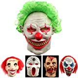 FOOING Halloween Clown Mask Scary Vampire Latex Costumes Cosplay Party Decorations Props With Green Hair