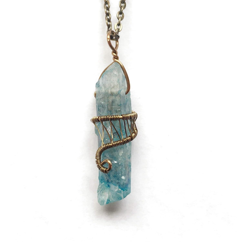 Silver-Plated Wire Aqua Aura Quartz Wire Wrapped Crystal Pendant
