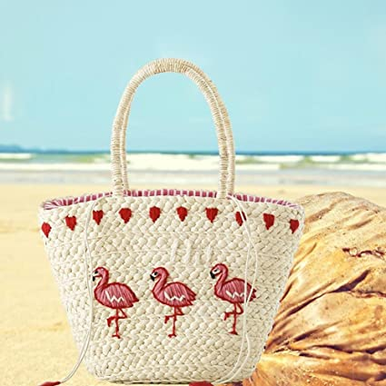 Beach Bag Summer Woven Palm Round Straw Embroidery Straw Braided Bag