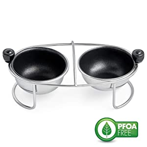 Eggssentials Egg Poacher | Stainless Steel Egg Rack | 2 Poached Egg Maker Cups PFOA Free Nonstick | 6.25 inches Egg Steamer Rack Fits Many sized Pans Skillets and Pressure Cookers …