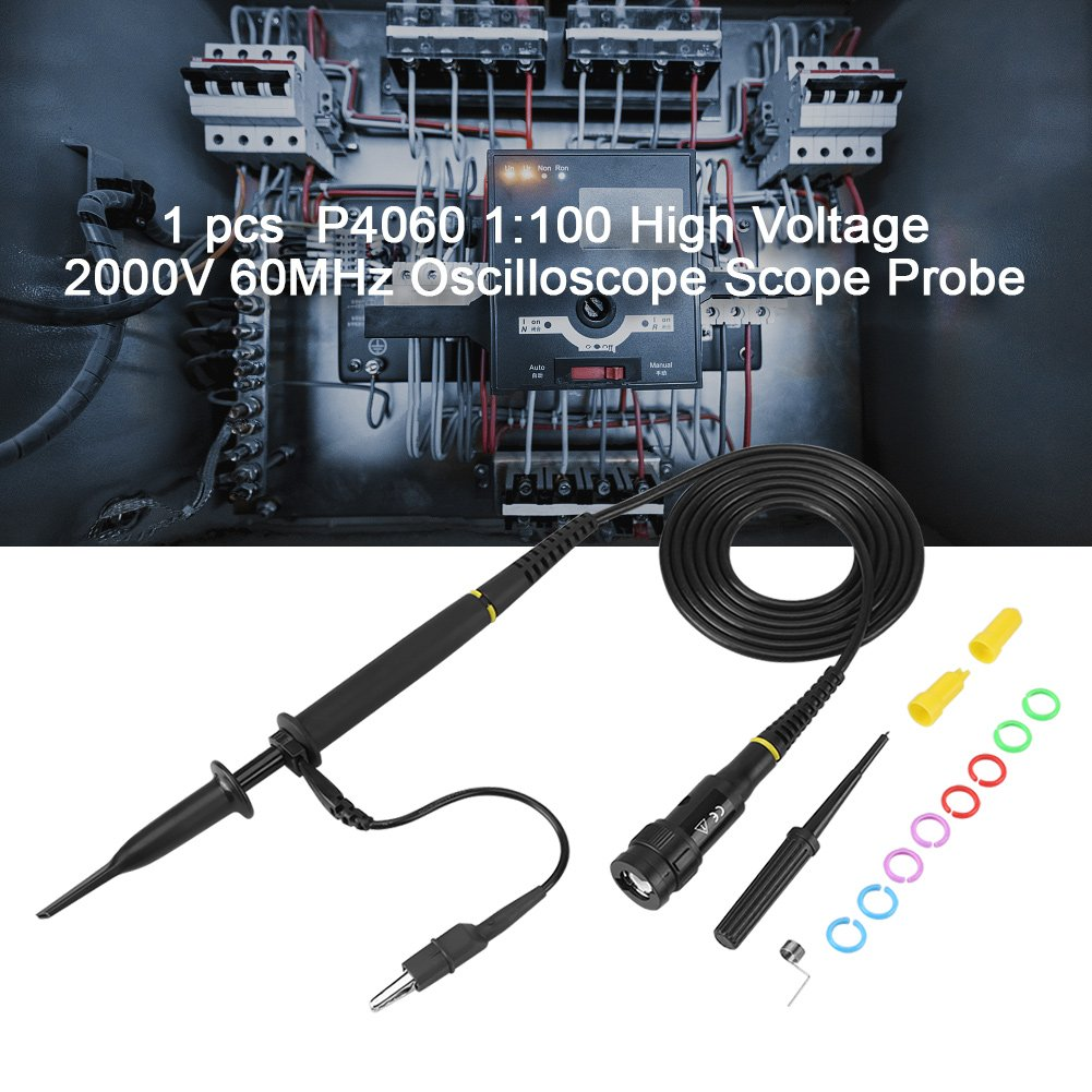 60MHz Oscilloscope Probe,Acogedor P4060 2000V High Voltage 100X Oscilloscope Probe for Standard BNC End