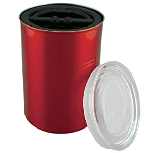 Airscape Coffee and Food Storage Canister, 64 oz - Patented Airtight Lid Preserves Food Freshness - Stainless Steel - Candy Apple Red