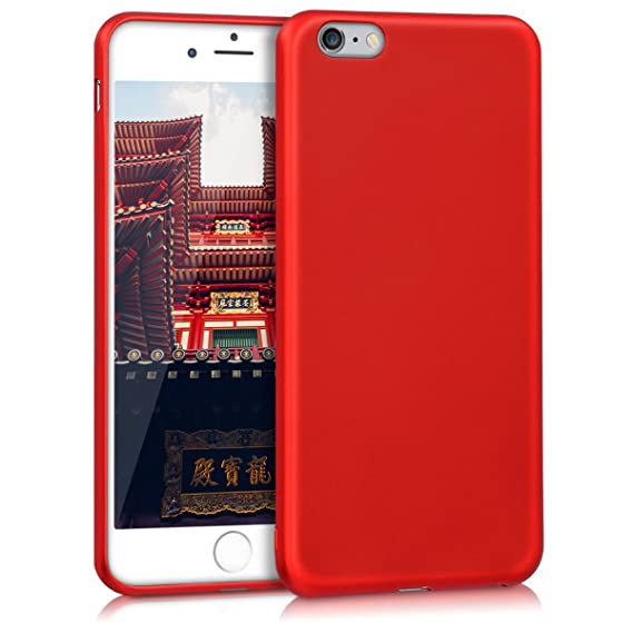cheaper c59c2 759fd kwmobile TPU Silicone Case for Apple iPhone 6 Plus / 6S Plus - Soft  Flexible Shock Absorbent Protective Phone Cover - Metallic Dark Red