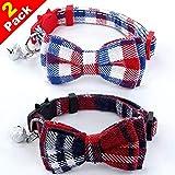 2Pcs 猫首輪 リボン 蝶ネクタイ かわいい 軽い 調節可能 小型、中型 犬 猫用首輪 セーフティバックル付 鈴付 安全 ペット用品 布(赤+ホワイト)