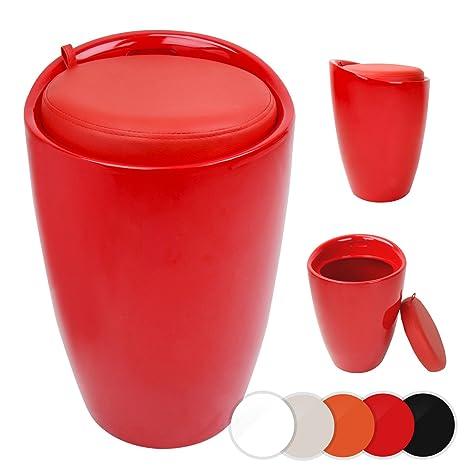 Sgabello Da Bagno Con Contenitore.Miadomodo Sgabello Contenitore Di Plastica Con Sedile Imbottito Bagno Colore Rosso