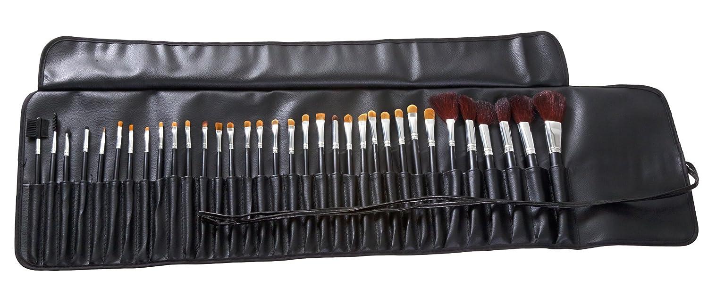 good makeup brushes. amazon.com: mash 34pc studio pro makeup make up cosmetic brush set kit w/ leather case - for eye shadow, blush, concealer, etc.: beauty good brushes