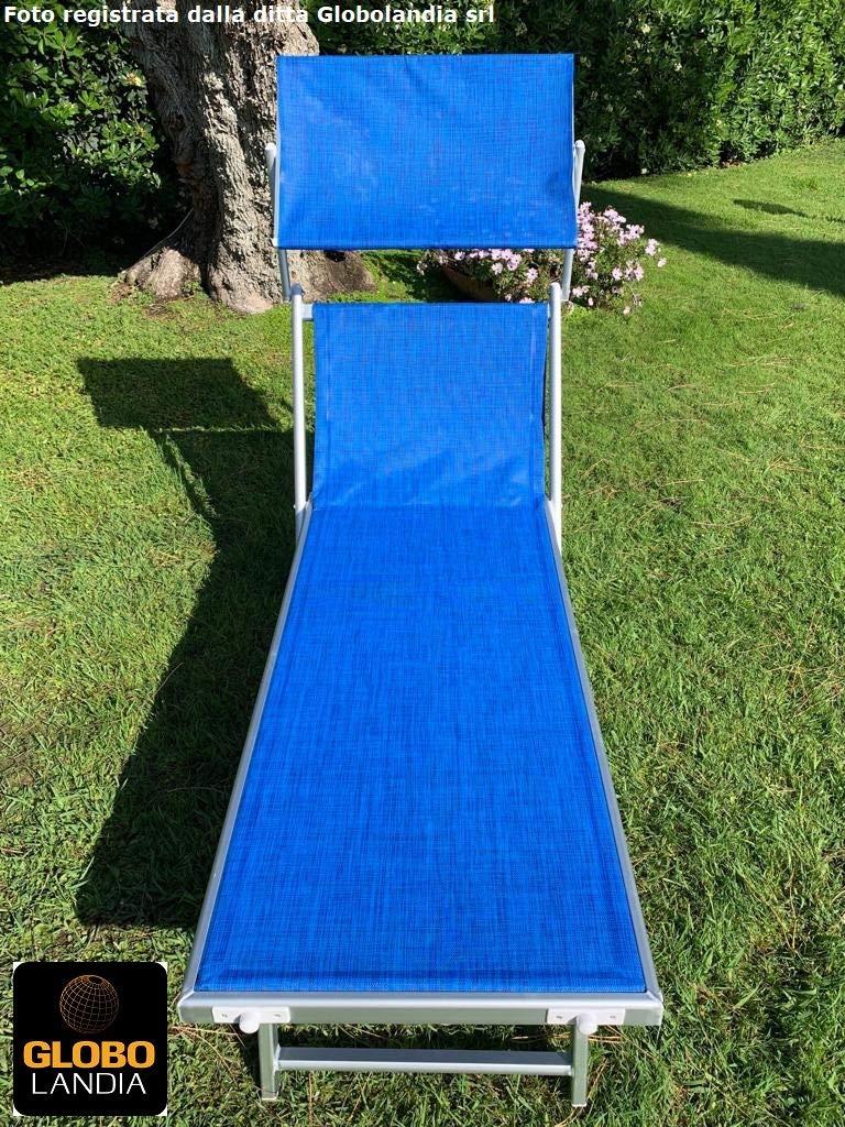 Telo Blu Melange GLOBOLANDIA SRL Lettino Prendisole Pieghevole da Mare Giardino Spiaggia Stabilimento a 3 Posizioni Deluxe 83136DEL